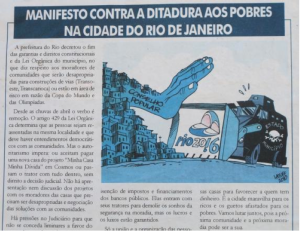 Political Cartoon against the Forced Removals, Al Jazeera Caption: (on the hand) Popular Will, (title) A Declaration against the Dictatorship of the Poor in the City of Rio de Janeiro