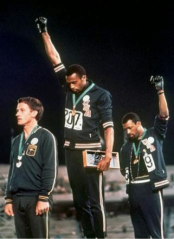Black Power Salute in the Mexico City Olympic, Tommie Cross (center), John Carlos (right), NYT