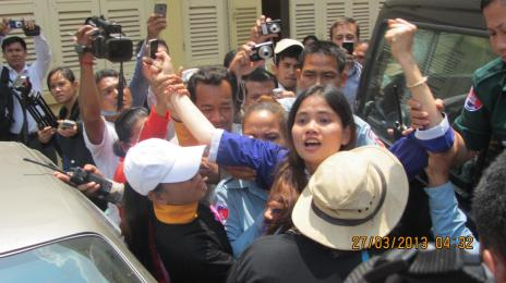 Yorm Bopha defiant as she is placed in van and returned to Prey sar Prison - Phnom Penh, Cambodia, 27 March 2013